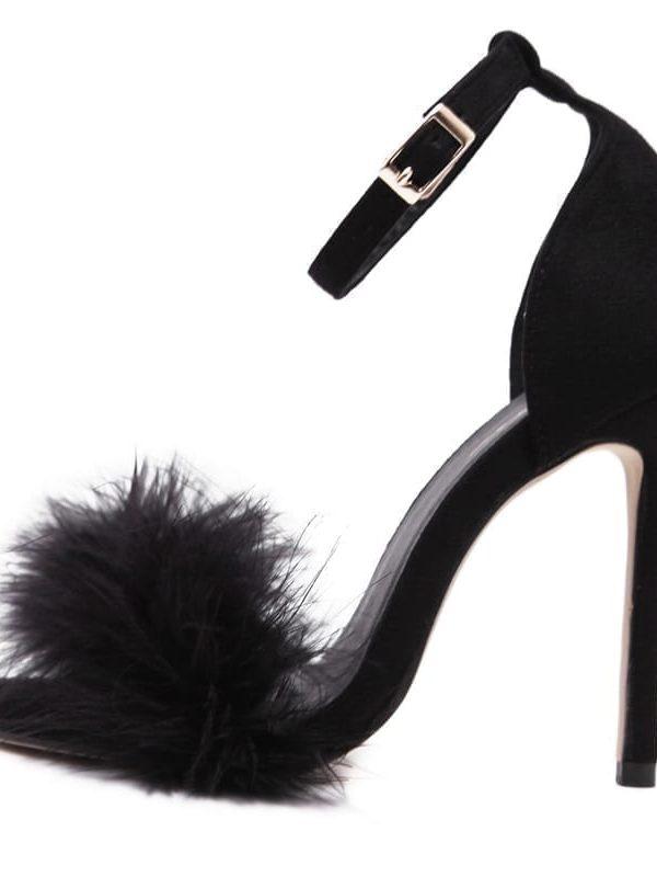 Fur High Heel Women Sandals
