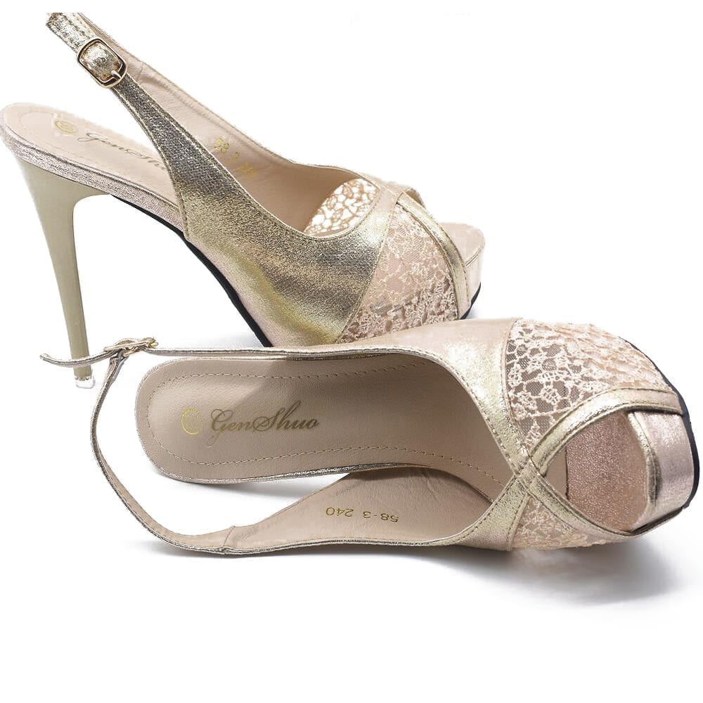 Gold Flower Open Toe Lace High Heel Wedding Party Pumps