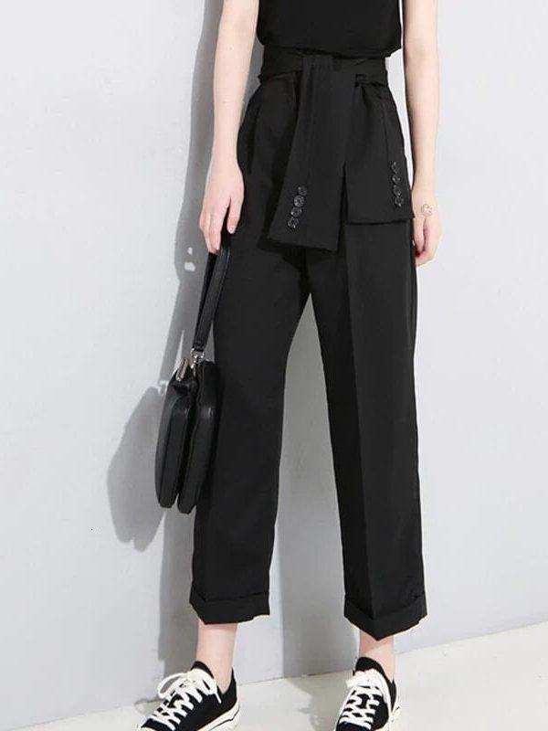 Elegant Women Black/gray High Waist Lace Up Wide Lag Pants
