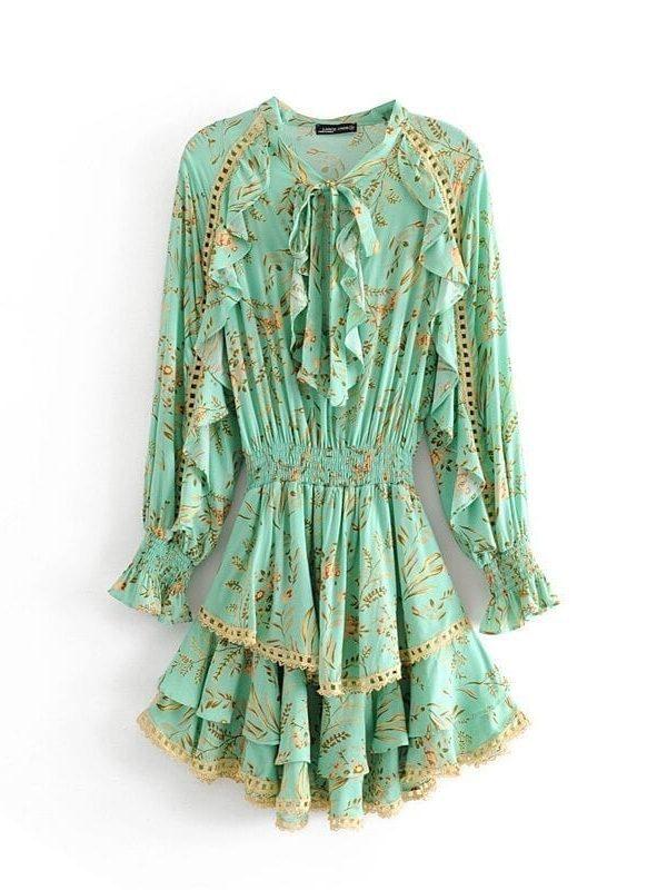 Butterfly Sleeve Floral Print Boho Mini Dress