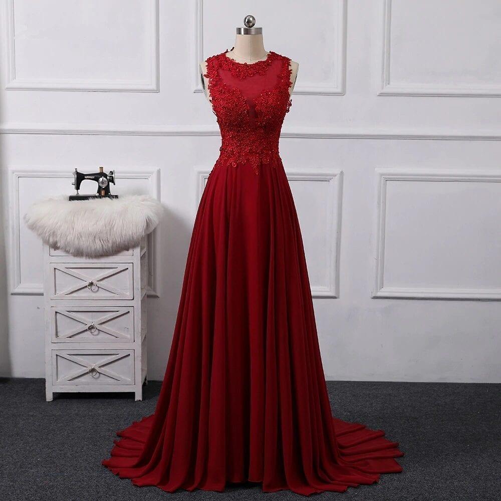 Elegant A Line Chiffon Sleeveless Open Back Maid Of Honor Bridesmaid Dress