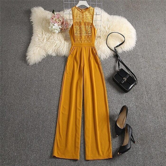 Lace High Waist Yellow Elegant Jumpsuit