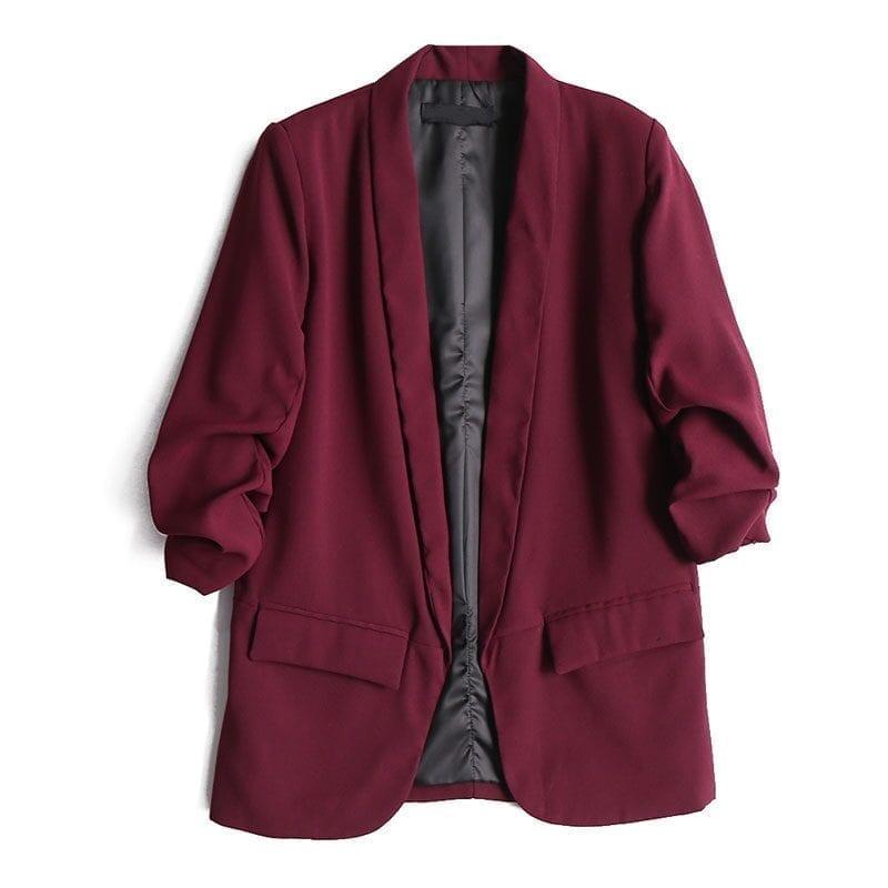 Deep Color Pocket Work Wear Women Jacket