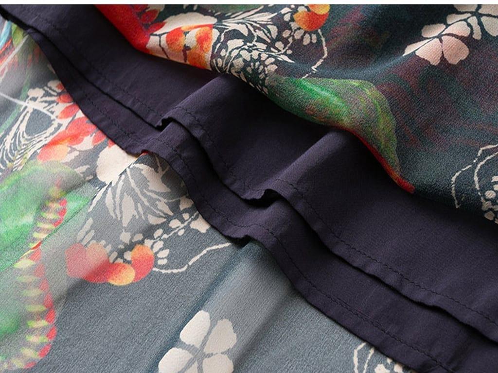 Elegant Floral Print Short Sleeve Loose O-neck Chiffon Dress