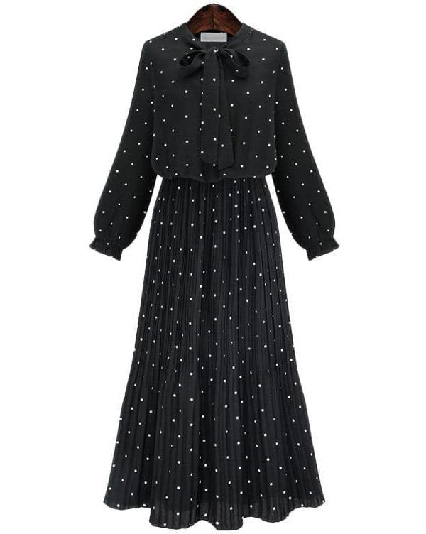Round Neck Long Sleeve Solid Black Chiffon Dot Loose Dress