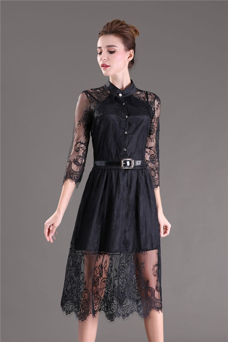 Hollow Out Half Sleeve Elastic Waist Floral Crochet Black Lace Dress