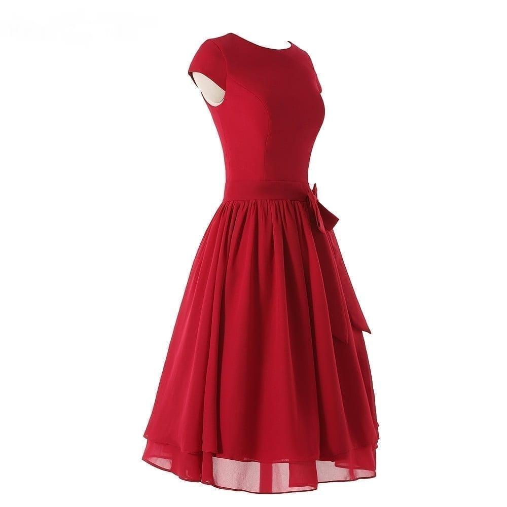 Burgundy Chiffon A-line Belt With Bow Bridesmaid Dress