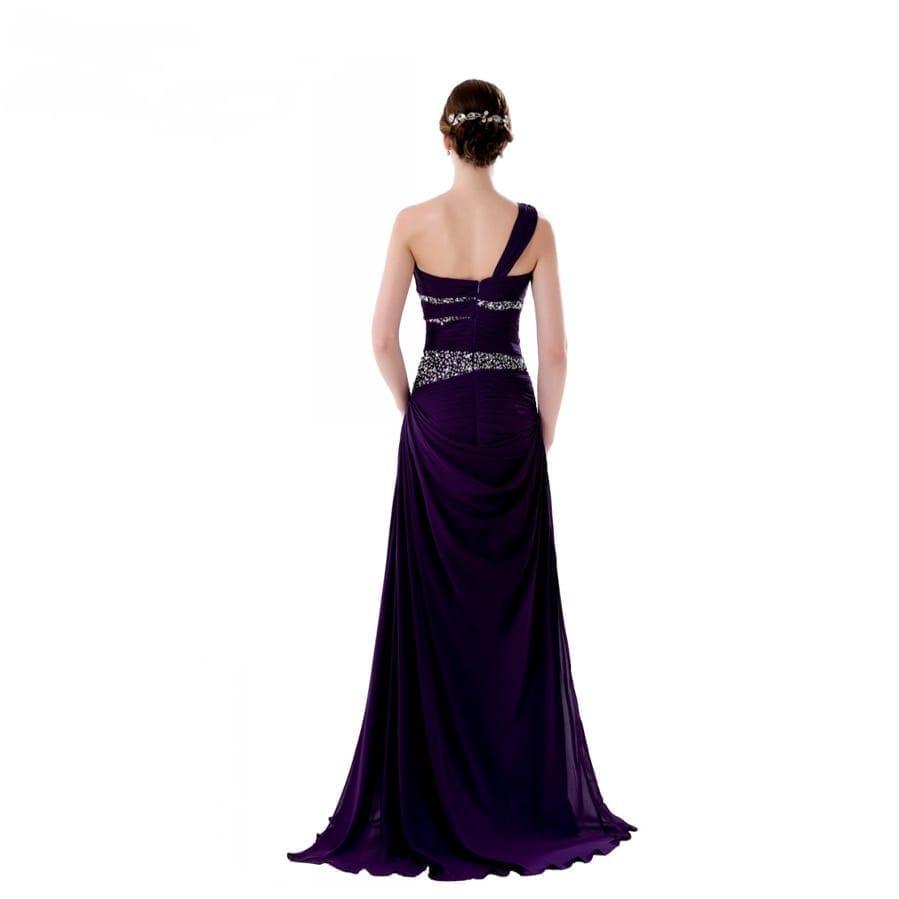 Elegant One Shoulder Crystal Beaded Wedding Party Bridesmaid Dress
