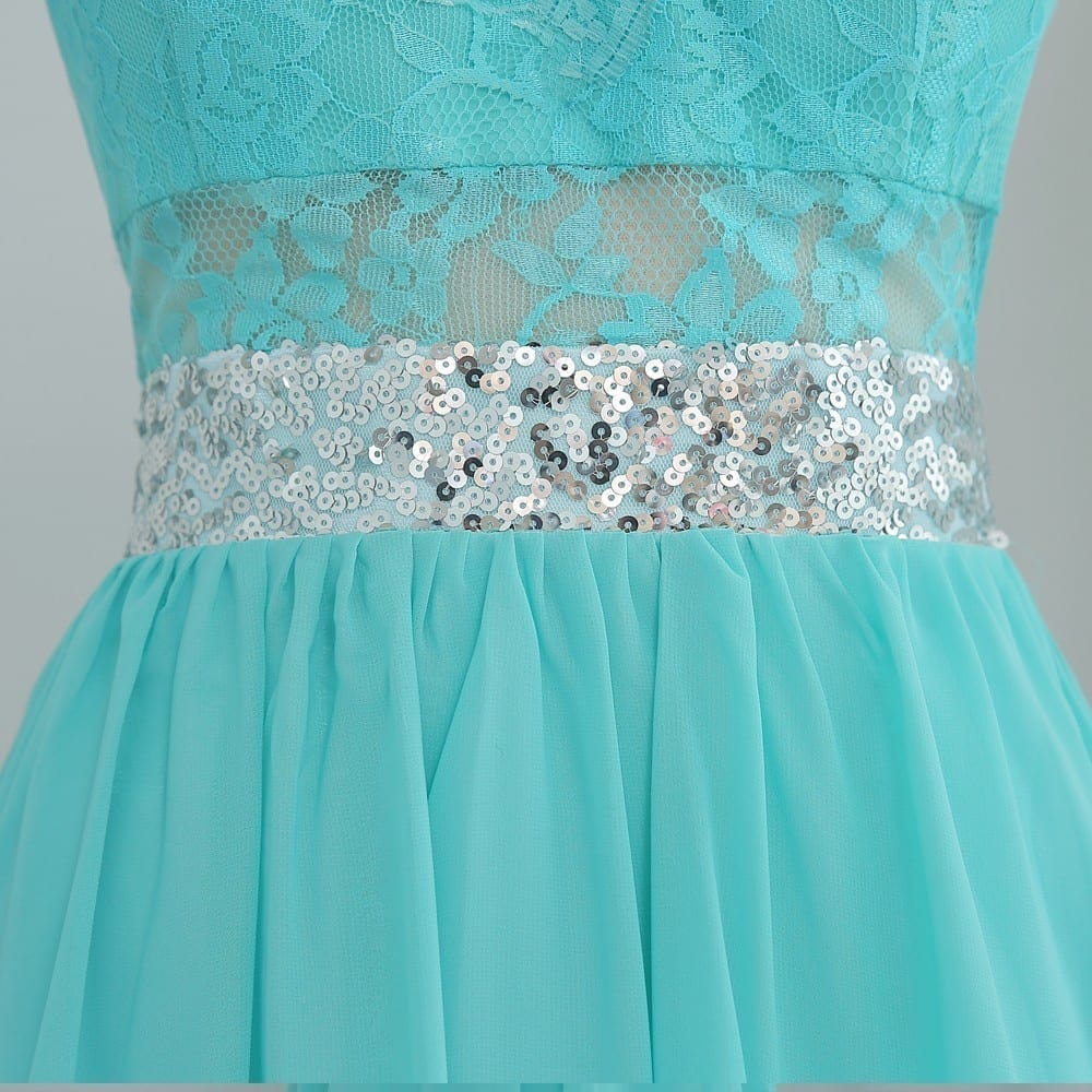 A-line See Through Mint Green Chiffon Lace Sequins Bridesmaid Dress