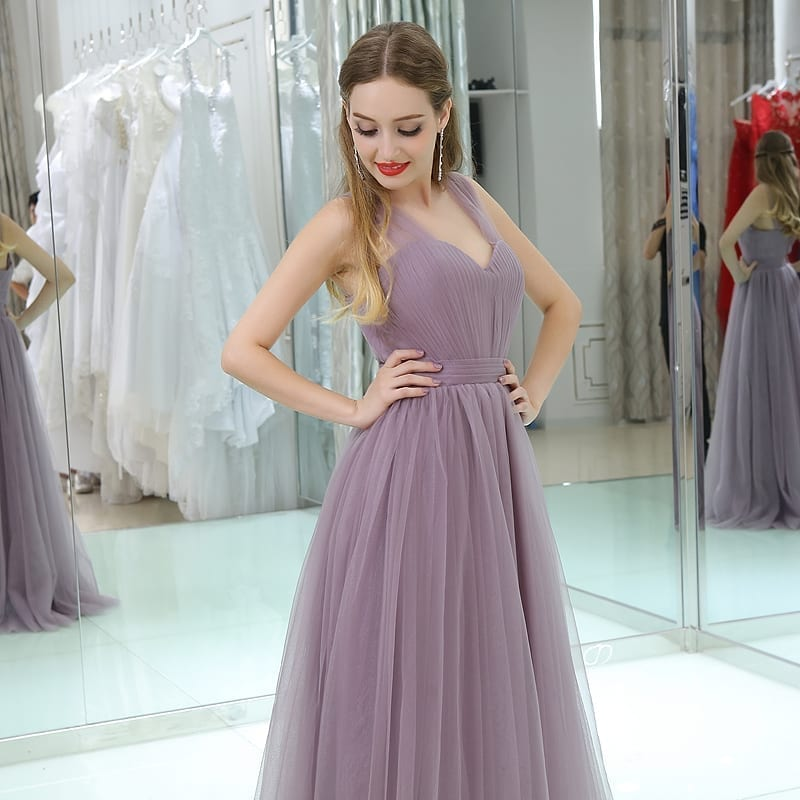 Sleeveless Tulle Long Wedding Party Bridesmaid Dress