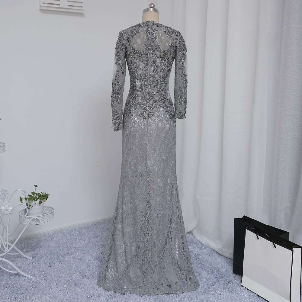 Mermaid V-neck Long Sleeves Silver Lace Beaded Mother Of The Bride Dress