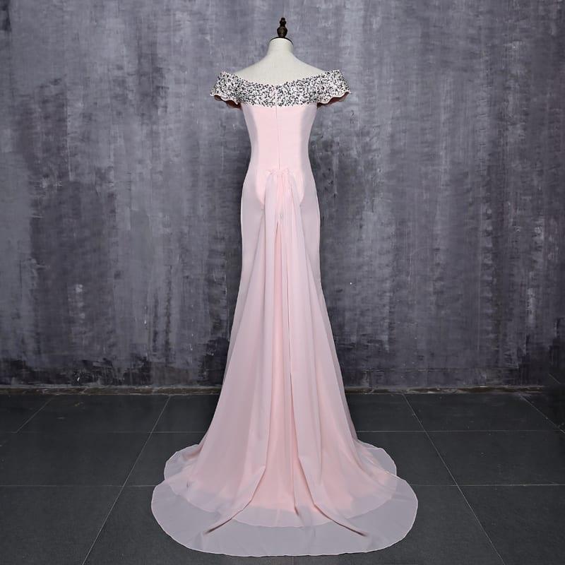 Elegant Short Sleeves Pink Beaded Mermaid Long Bridesmaid Dress