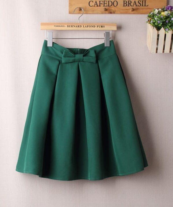 Vintage A Line Big Bow Side Zipper High Waist Pleated Knee Length Skirt