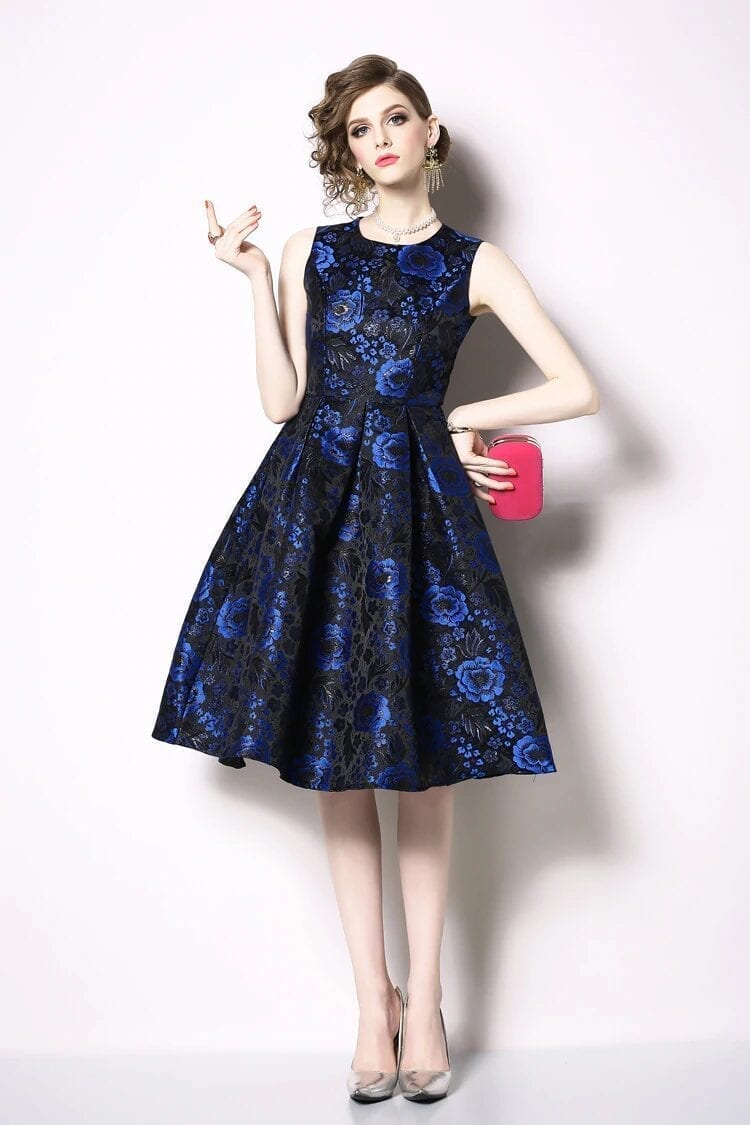 Elegant Sleeveless Printed Vintage Swing Dress