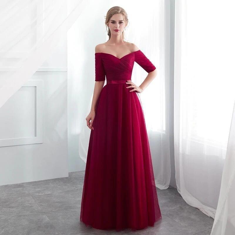 Elegant Burgundy Boat Neck Wedding Party Bridesmaid Dress