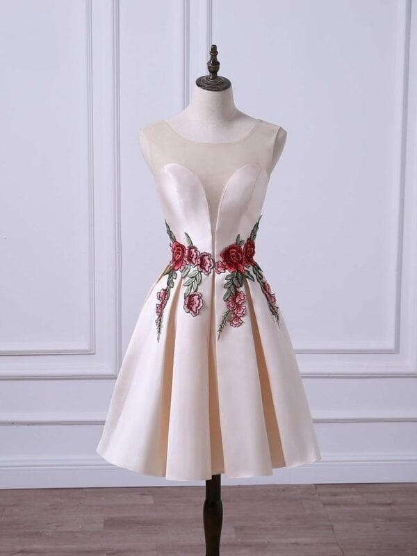 Sheer Neck A-line Embroidery Short Maid Of Honor Bridesmaid Dress