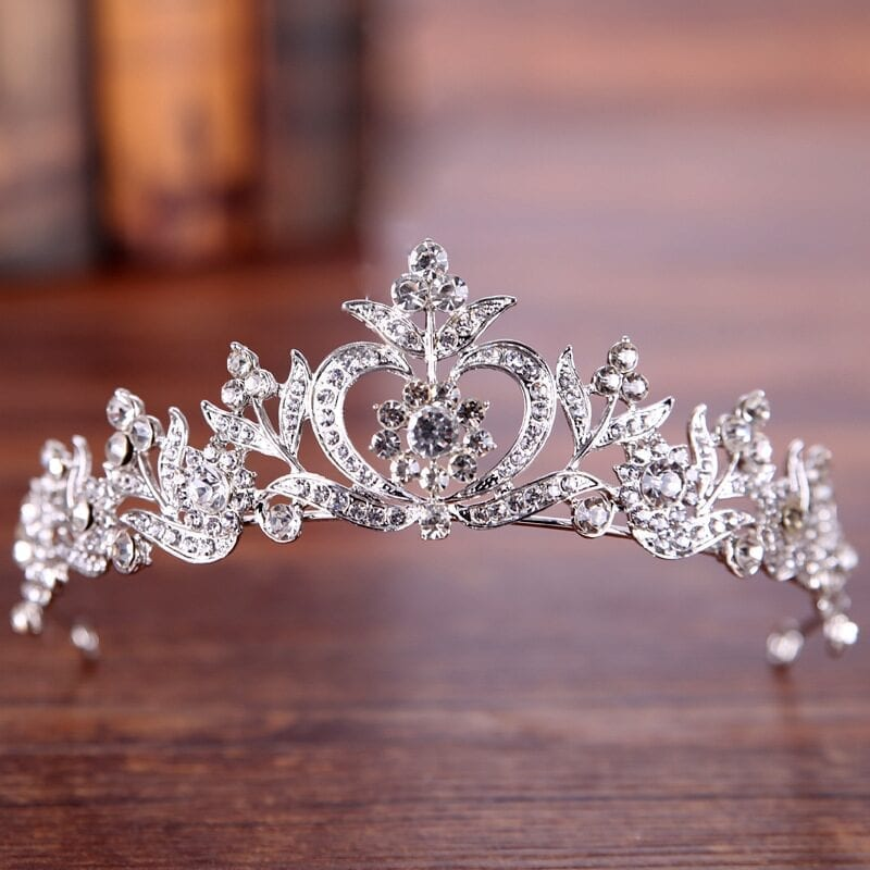 Vintage Silver Gold Crystal Tiara Princess Crown Wedding Hair Jewelry