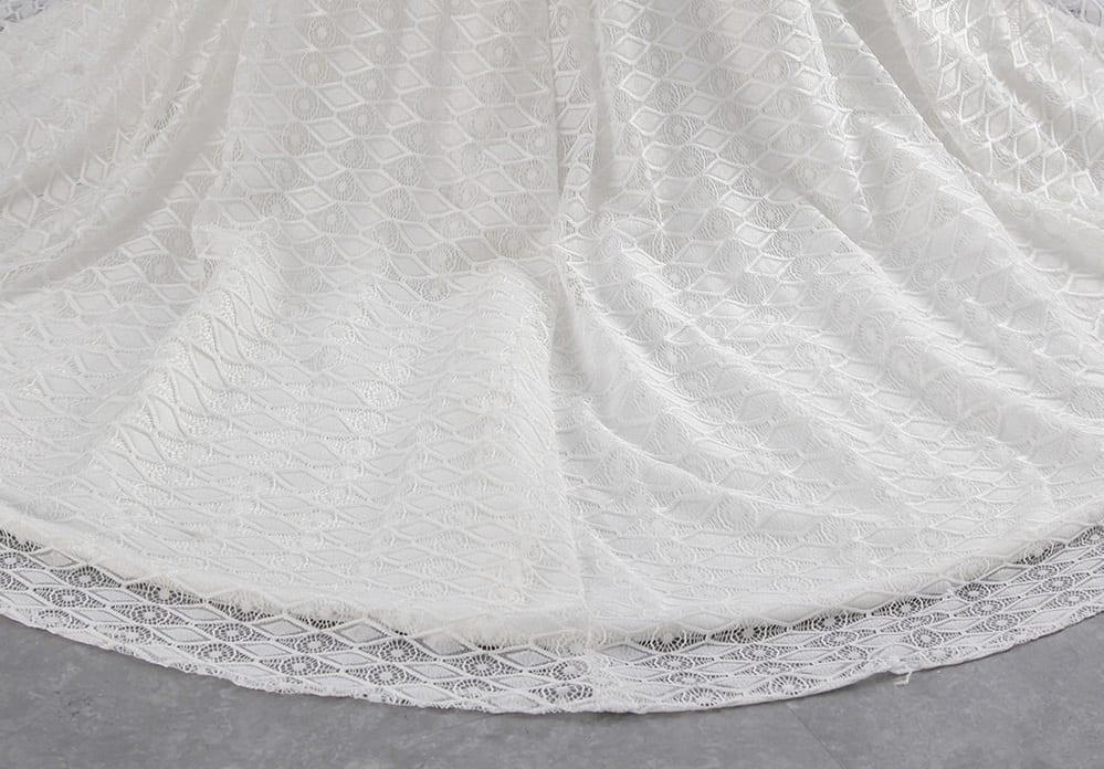 Vintage Ivory Cap Sleeves Beading Lace Crystal Mermaid Wedding Dress