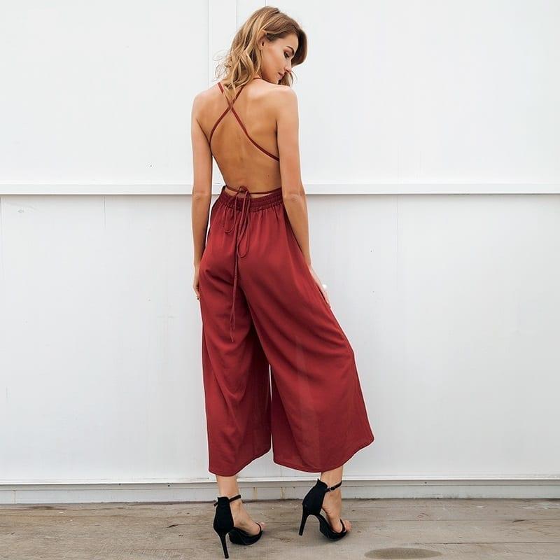 V Neck Backless Lace Up Halter High Waist Split Wide Leg Print Jumpsuit Romper