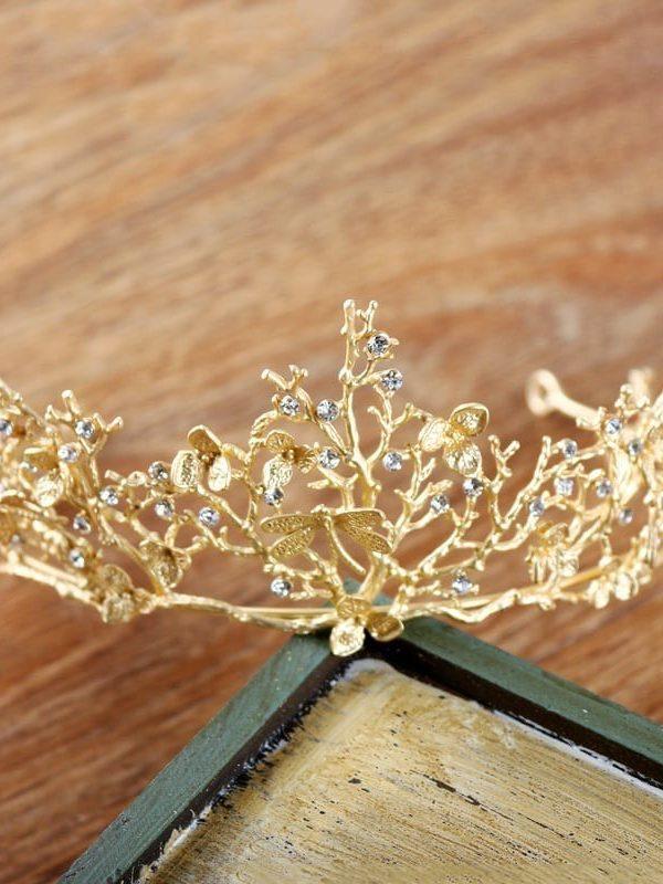 Vintage Baroque Gold Crystal Tiara Crown Headbands Wedding Hair Accessories