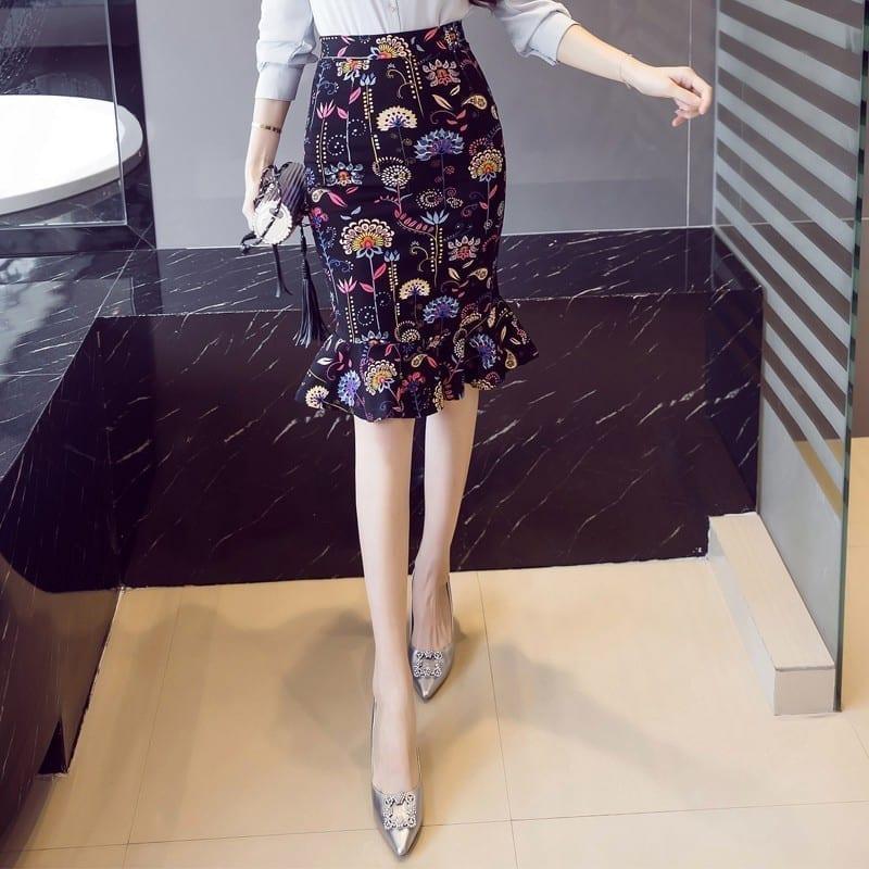 Elegant High Waist Vintage Office Pencil Print Skirt