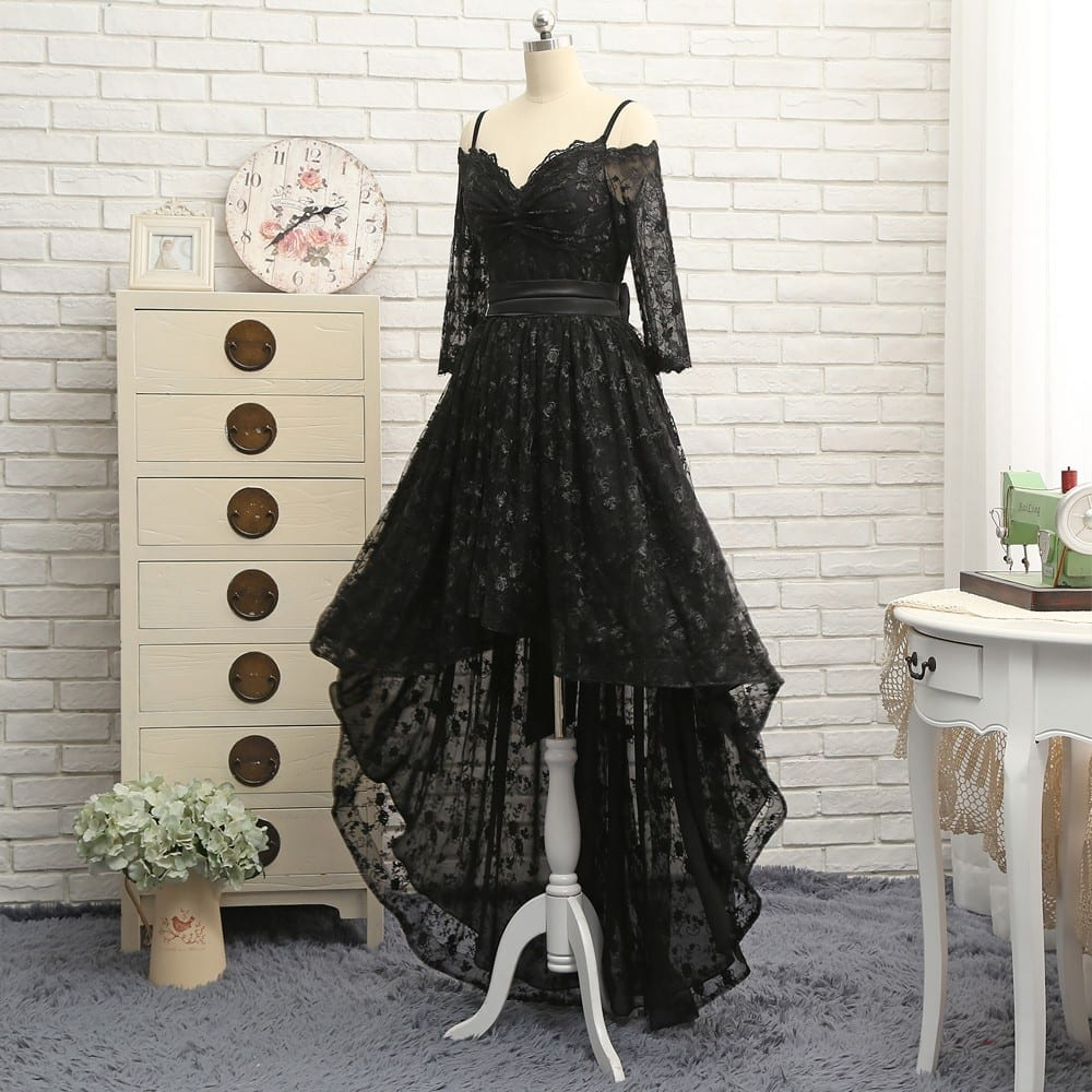 Black A-line Spaghetti Straps Short Front Long Back Bow Lace Prom Evening Dress