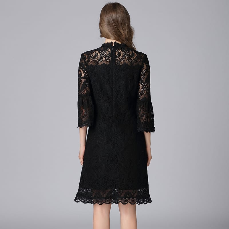Hollow Out Lace 3/4 Flare Sleeve Elegant Dress