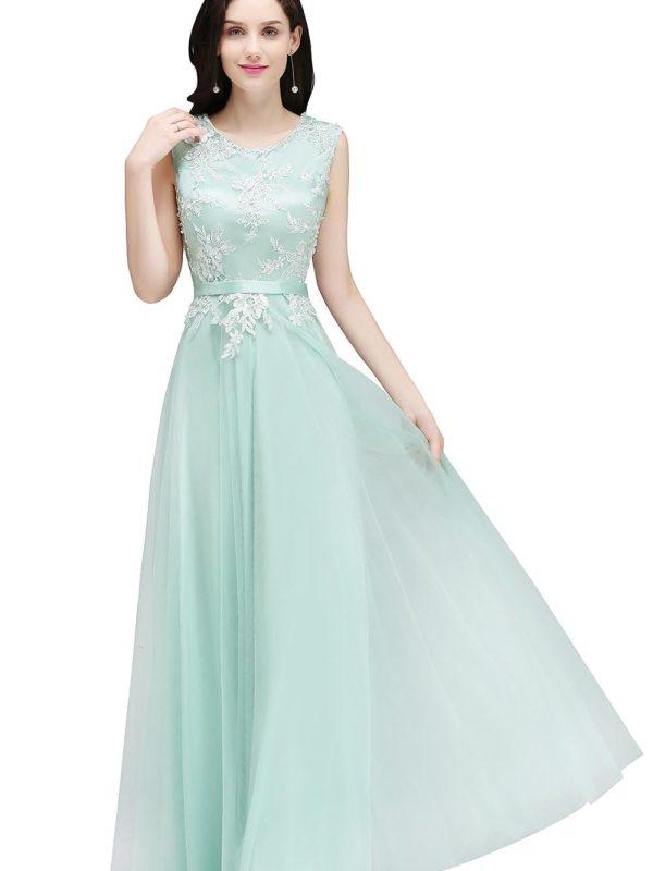 Elegant Mint Green Pink Burgundy Tulle A-line Bridesmaid Dress