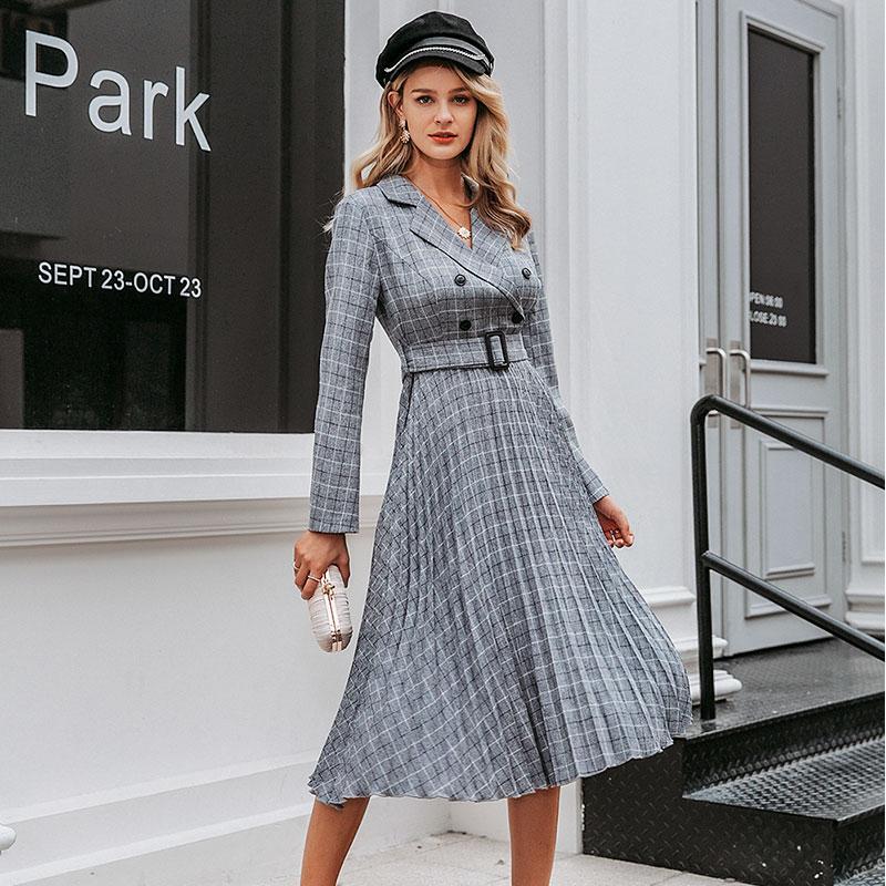 Vintage Pleated Belt Office Plaid Dress