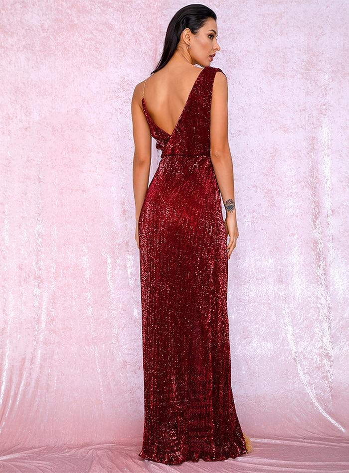 Sleeveless Red Floor Length Elegant Evening Dress
