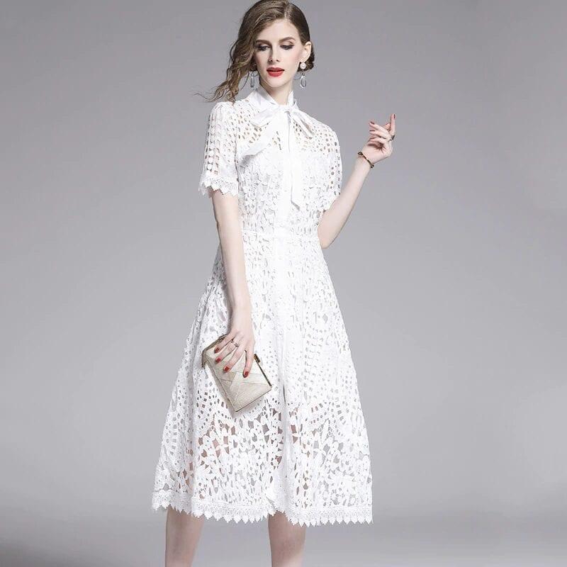 Elegant White Black Lace Hollow Out Dress
