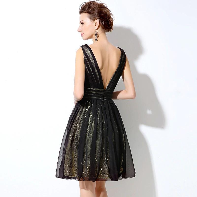 Stunning Backless Sequin Chiffon Knee Length Short Prom Dress