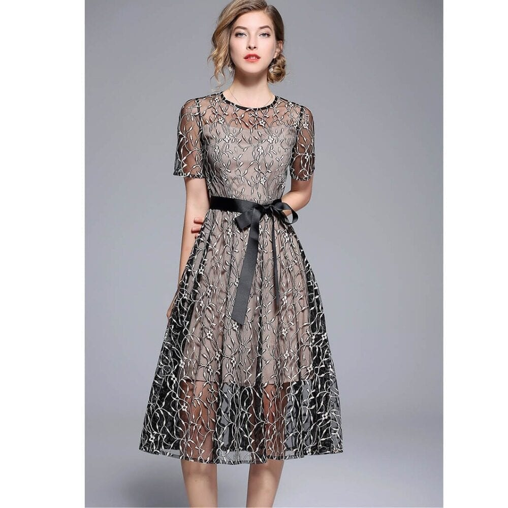 Elegant Hollow Lace Up Embroidery Two Pieces Office Dress