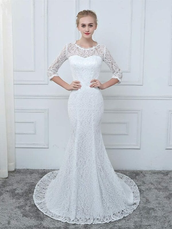 White Lace 3/4 Sleeves Mermaid Wedding Dress