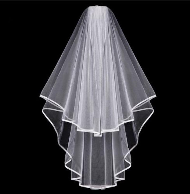 Tulle White Ivory Two Layers Ribbon Edge Comb Wedding Veil