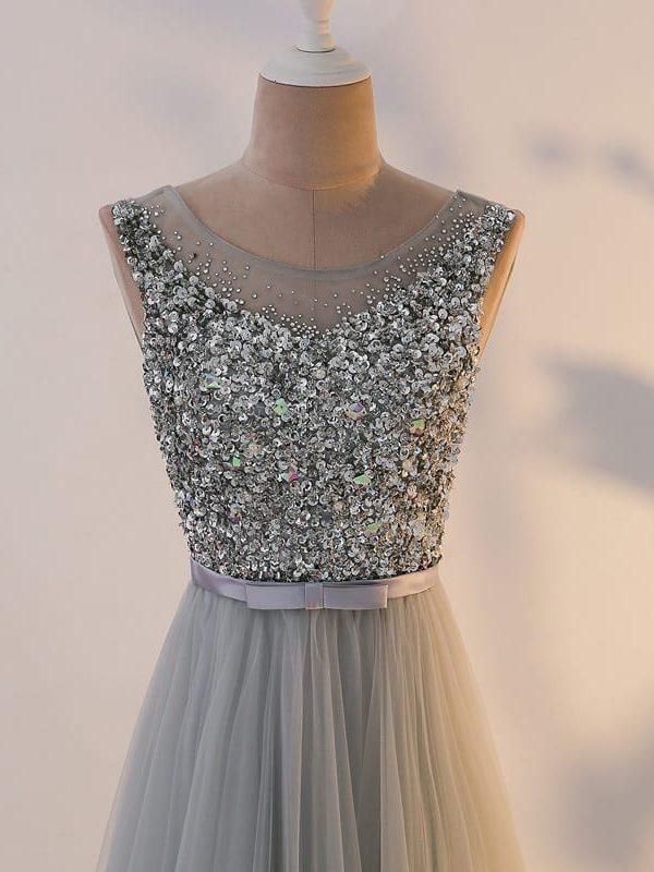 Silver Illusion Long Evening A-line Bridesmaid Dress