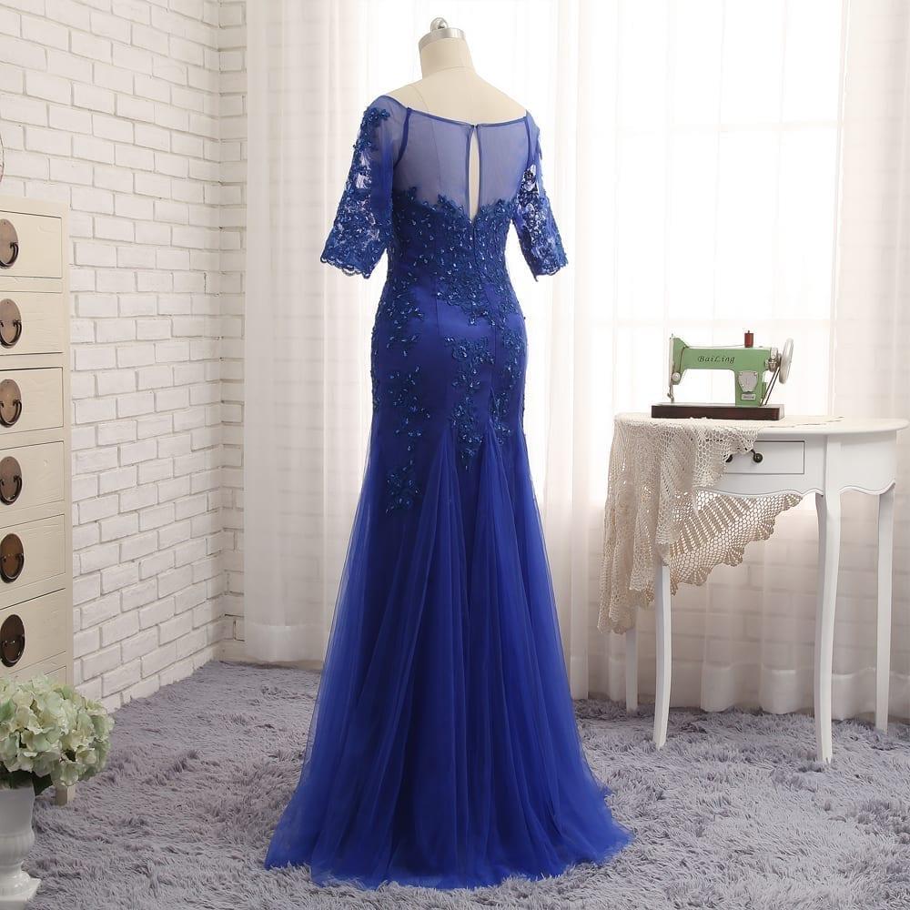 Royal Blue Mermaid Half Sleeves Tulle Beaded Mother Of The Bride Dress