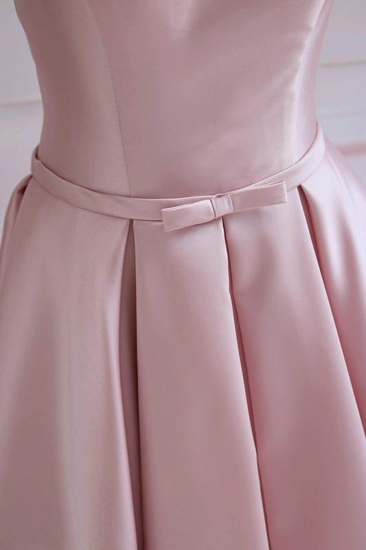 Pink Satin Off The Shoulder Long Bridesmaid Dress