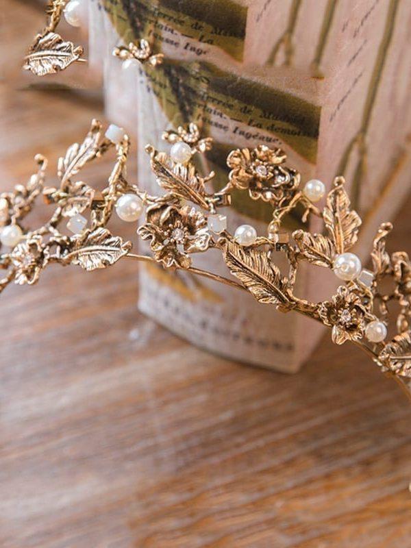 Vintage Retro Gold Bridal Wedding Tiara And Crown Wedding Head Jewelry