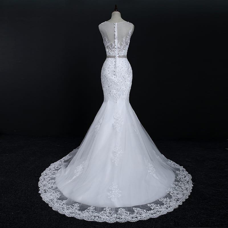 Sleeveless O-neck Lace Crystal Mermaid Wedding Dress