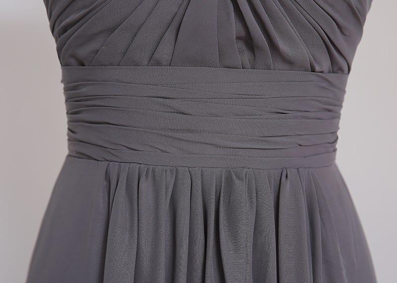 A-line Cap Sleeves Gray Chiffon Lace Open Back Bridesmaid Dress