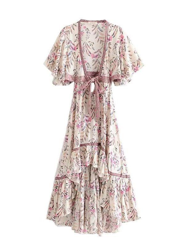Elegant Floral Print Asymmetrical Backless Boho Beach Dress