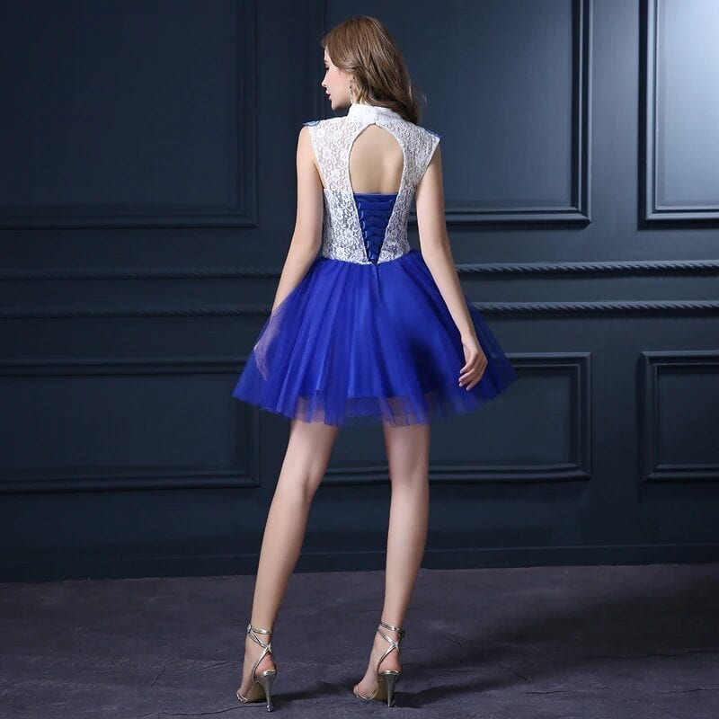 Mint High Low Lace Bridesmaid Dress