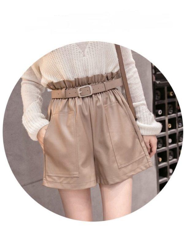 Elegant Black Khaki High Waist Shorts