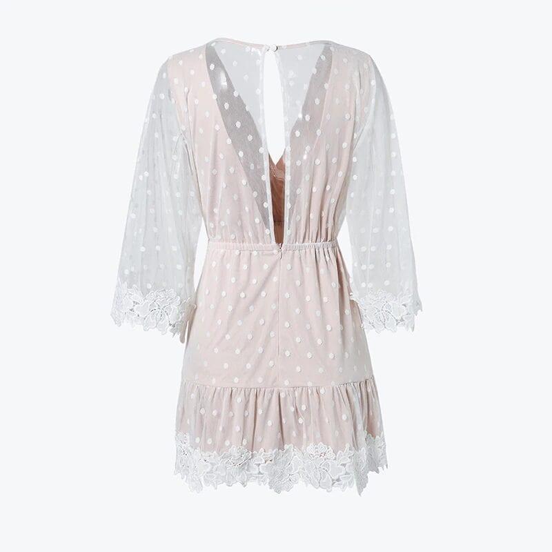 Elegant V-neck Dot White Mesh Dress