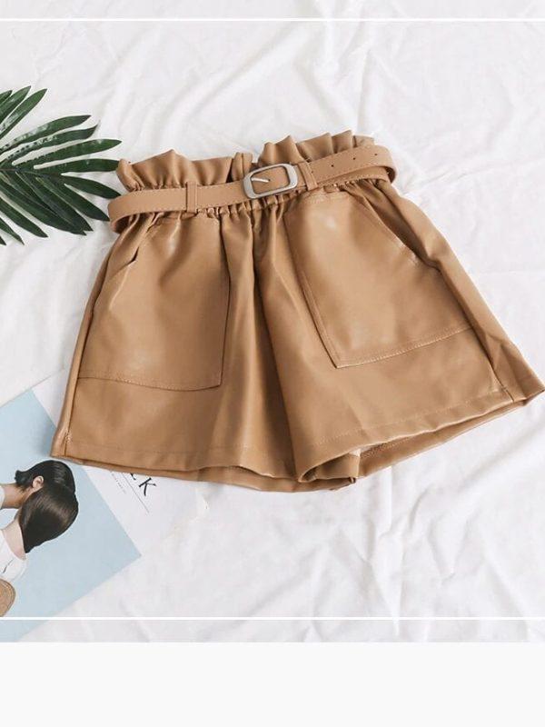 Black Khaki High Waist Loose Shorts
