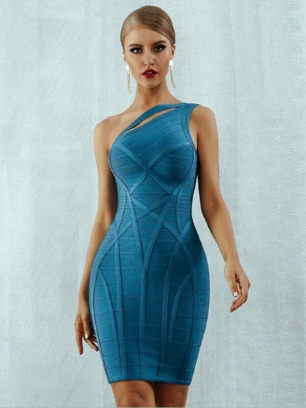 One Shoulder Hollow Out Bandage Dress