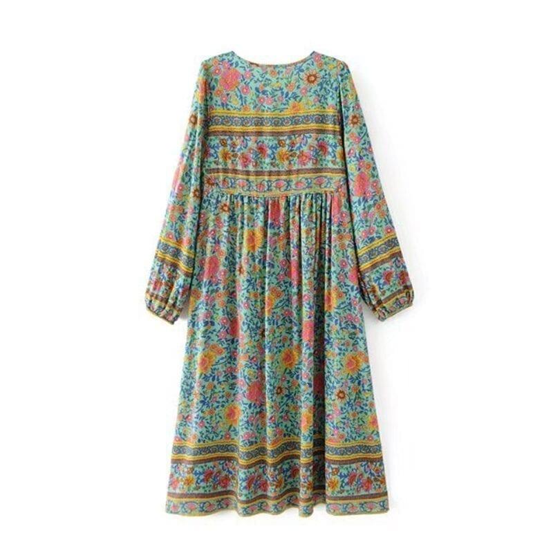 Floral Print Tassel Bohemian Elegant Long Dress