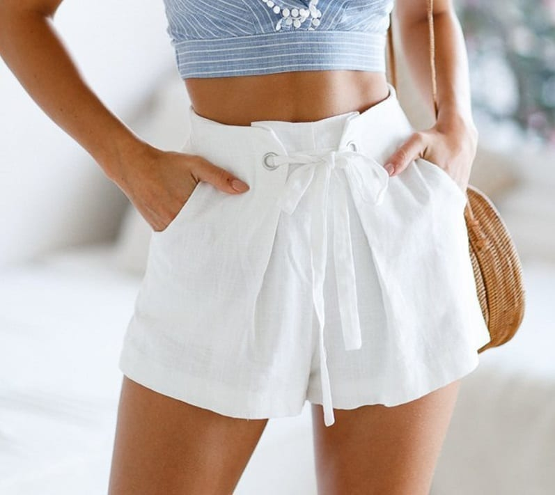 White Tie Up Plaid Zipper High Waist Shorts