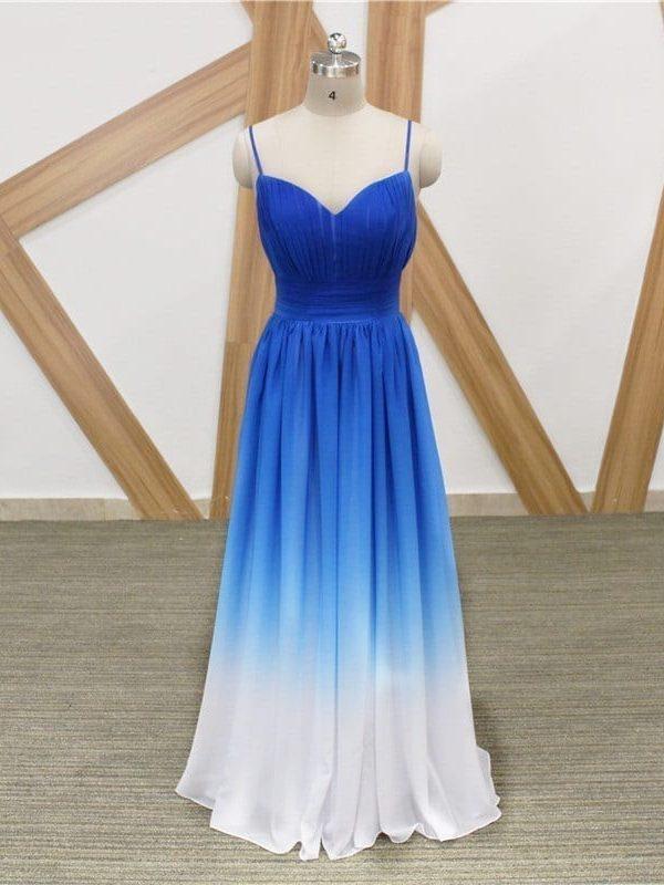 Elegant Blue White Gradient Color Chiffon A Line Spaghetti Strap Long Bridesmaid Dress